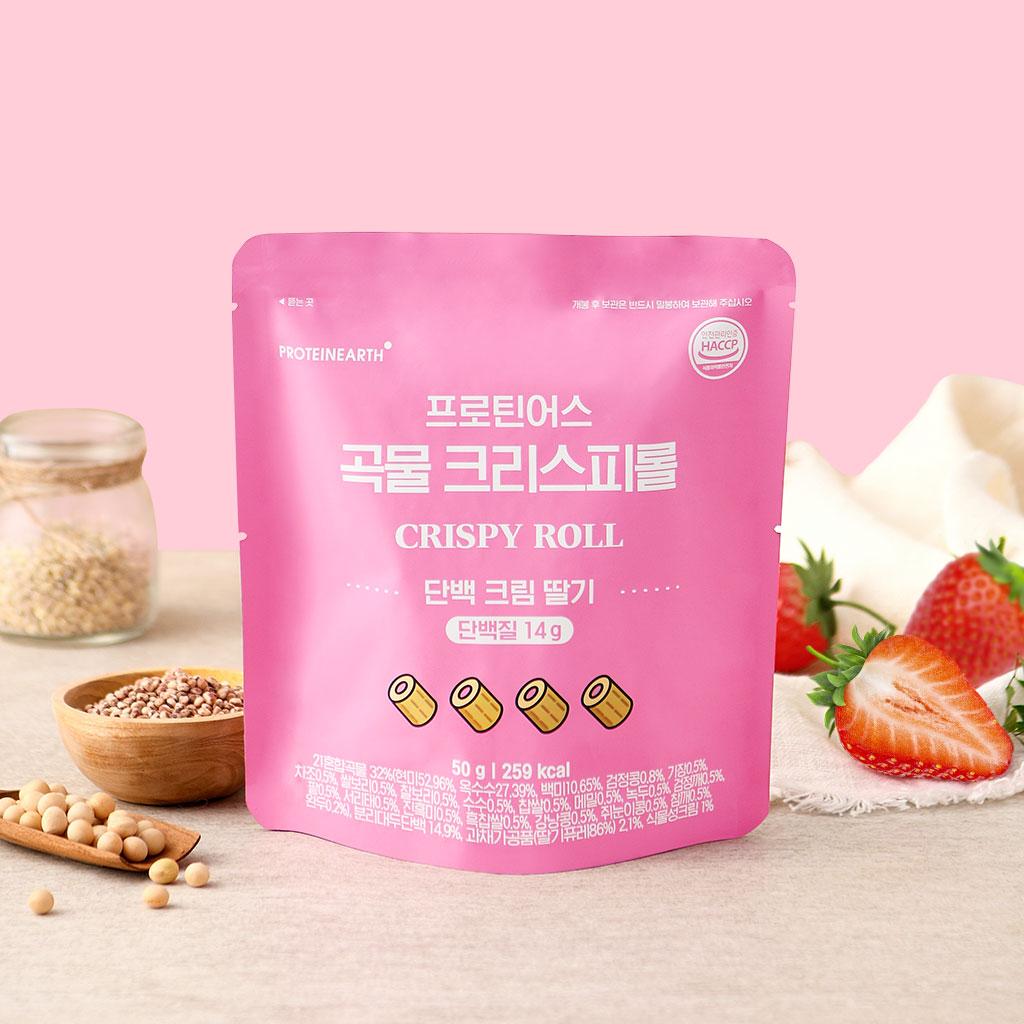 [프로틴어스] 곡물 크리스피롤 단백 크림 딸기